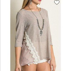 Umgee Crochet Lace Beige Sheer Mixed Sweater S